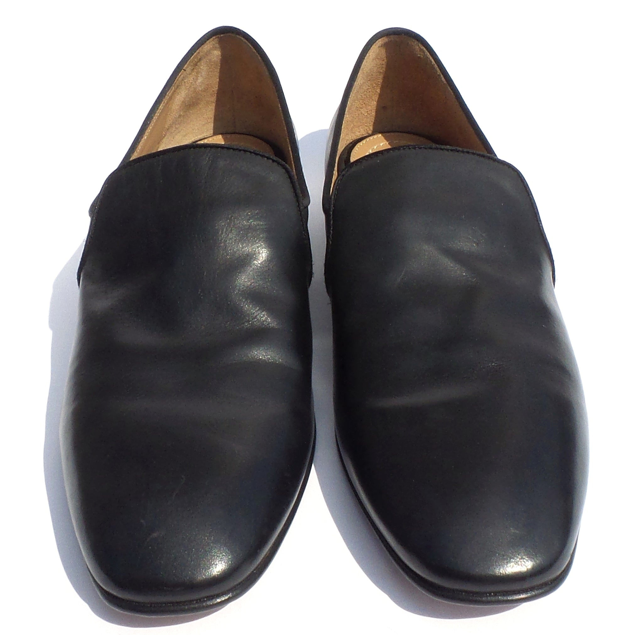 'Sold' $995 THE ROW Alys Black Calf Leather Satin Trim Loafers Slippers Flats 37.5 38