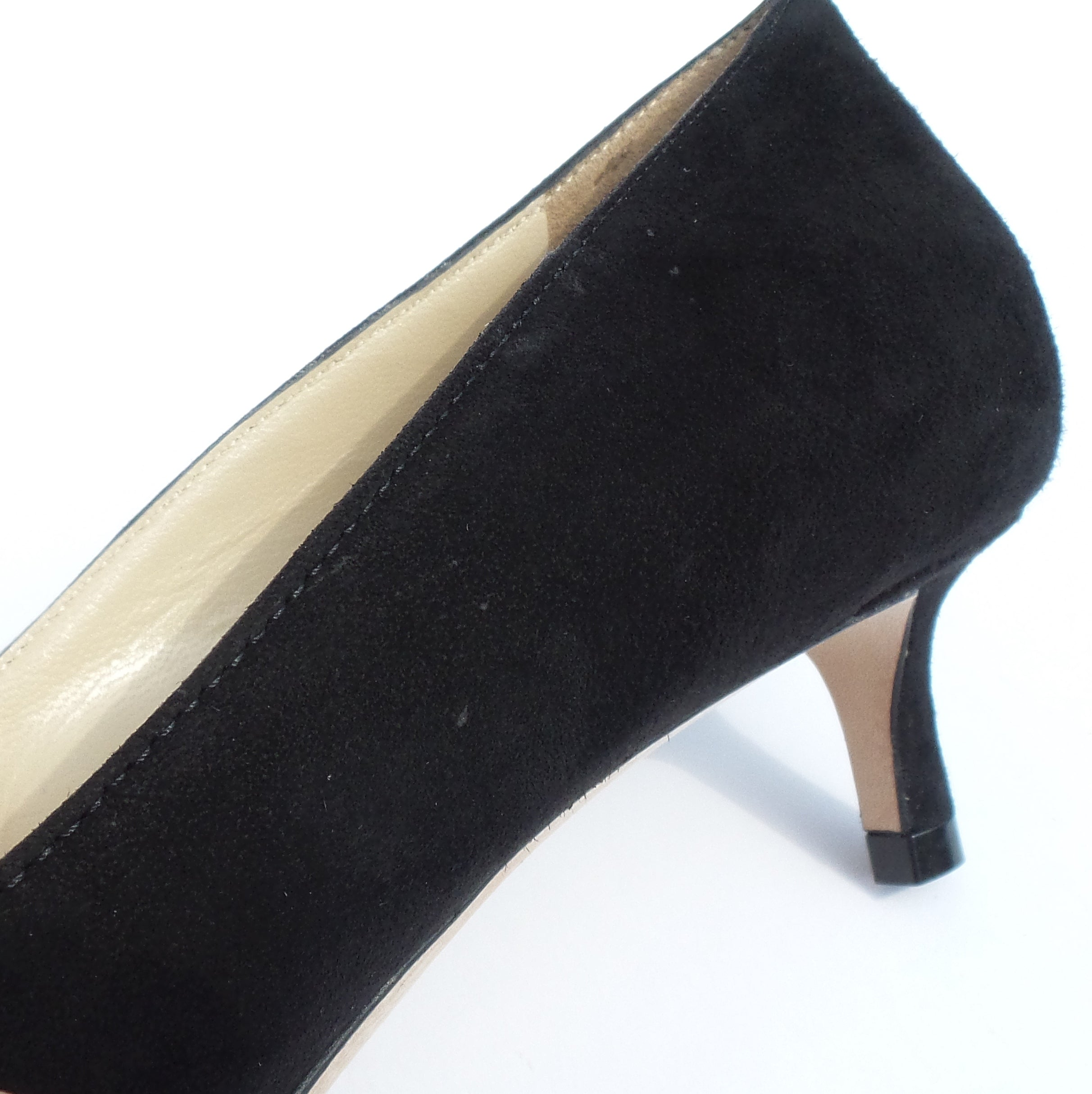 "'Sold' $595 JIMMY CHOO Romy 40 Black Suede Pointed Toe Low 1.5"" Kitten Heel Pumps 36.5"