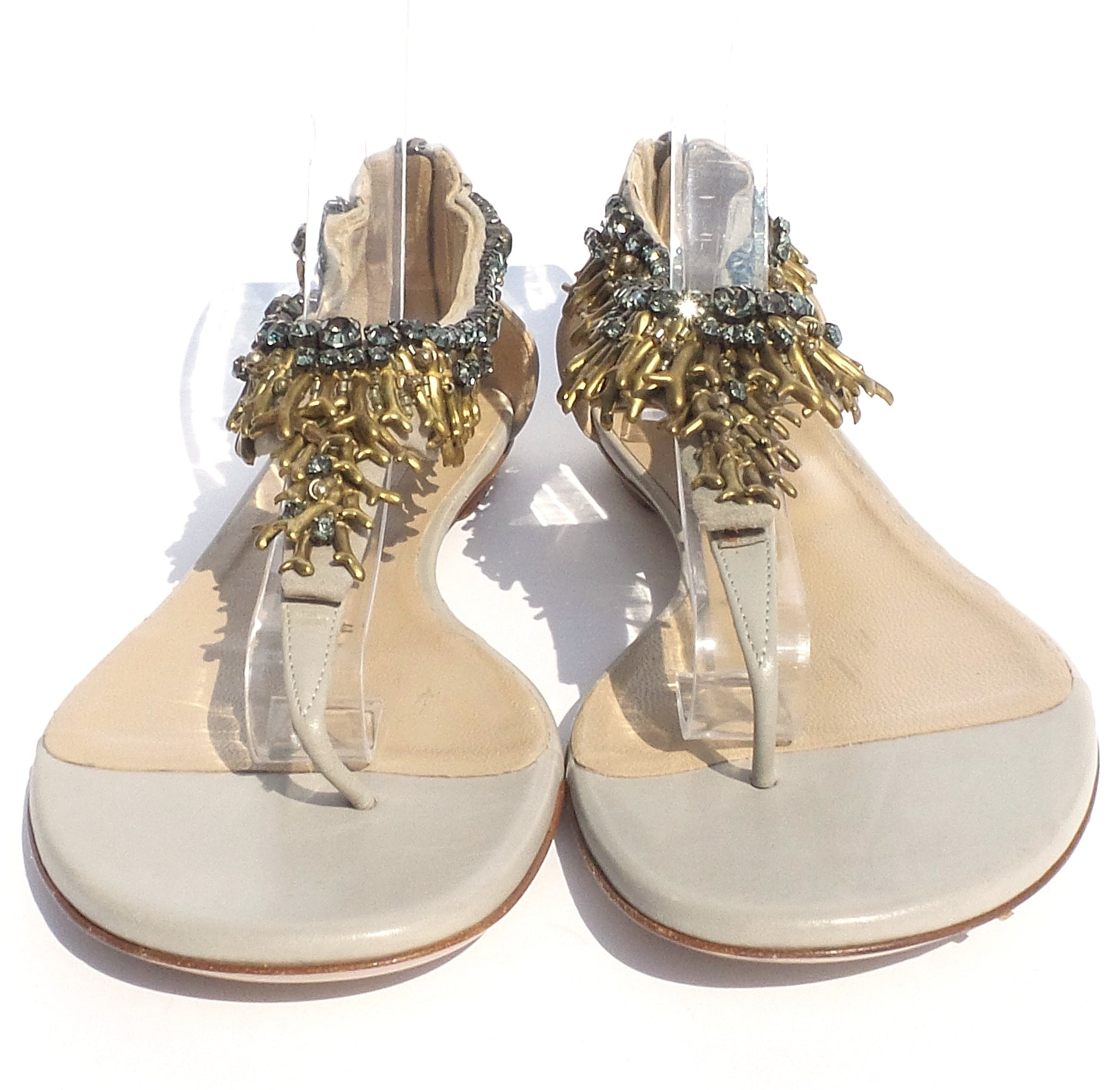 VALENTINO Beige Taupe Leather Gold Crystal Embellished Flat T-Strap Sandals 41