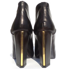 MAIYET Ryder Dark Brown Leather Gold Tone Front Zip Block Heel Ankle Boots 39 GC