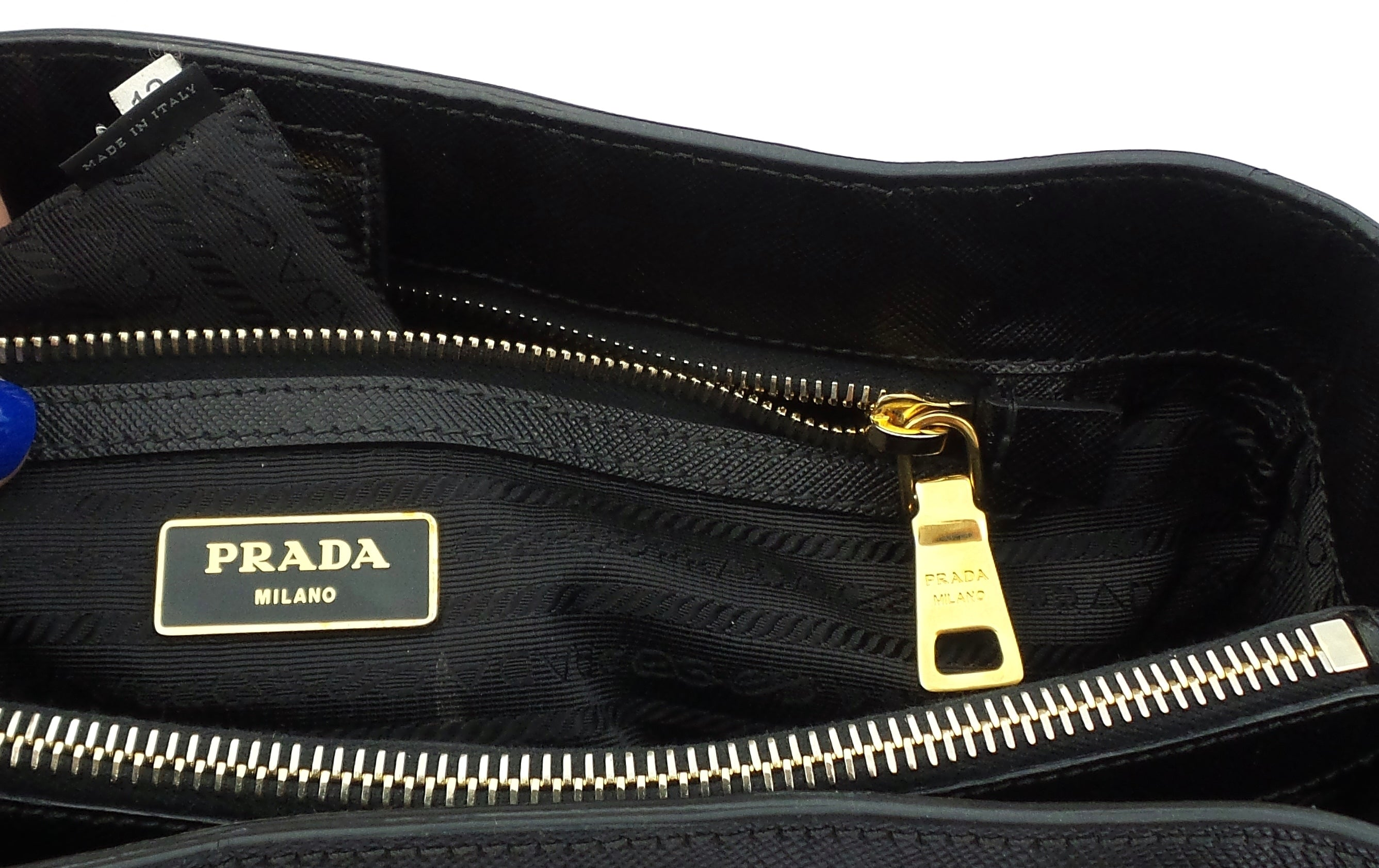 PRADA Saffiano Lux Black Leather Gold HW City Tote Bag BN1874