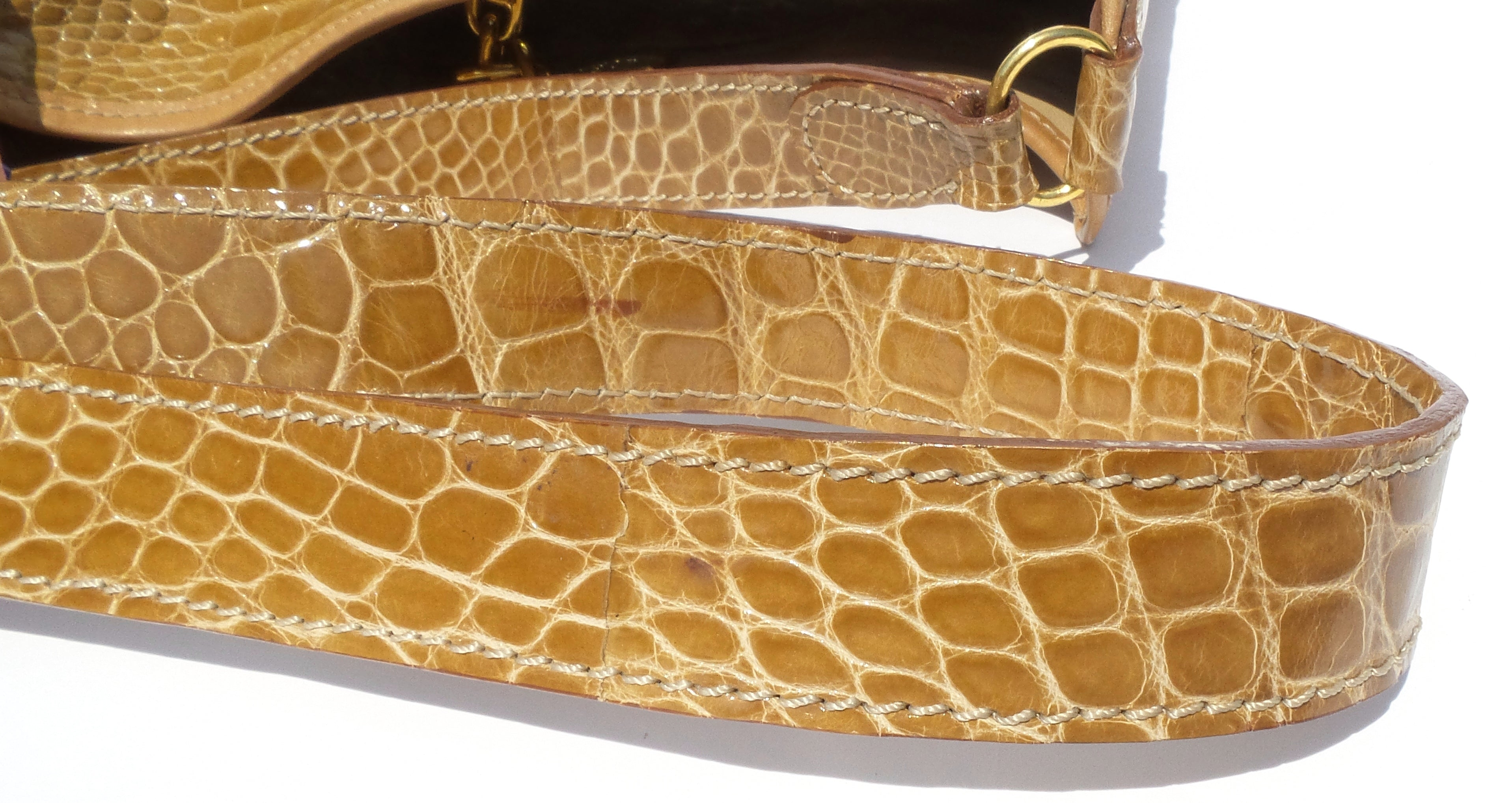 LORRAINE Italy Honey Tan Brown Crocodile Alligator Leather Gold HW Shoulder Bag