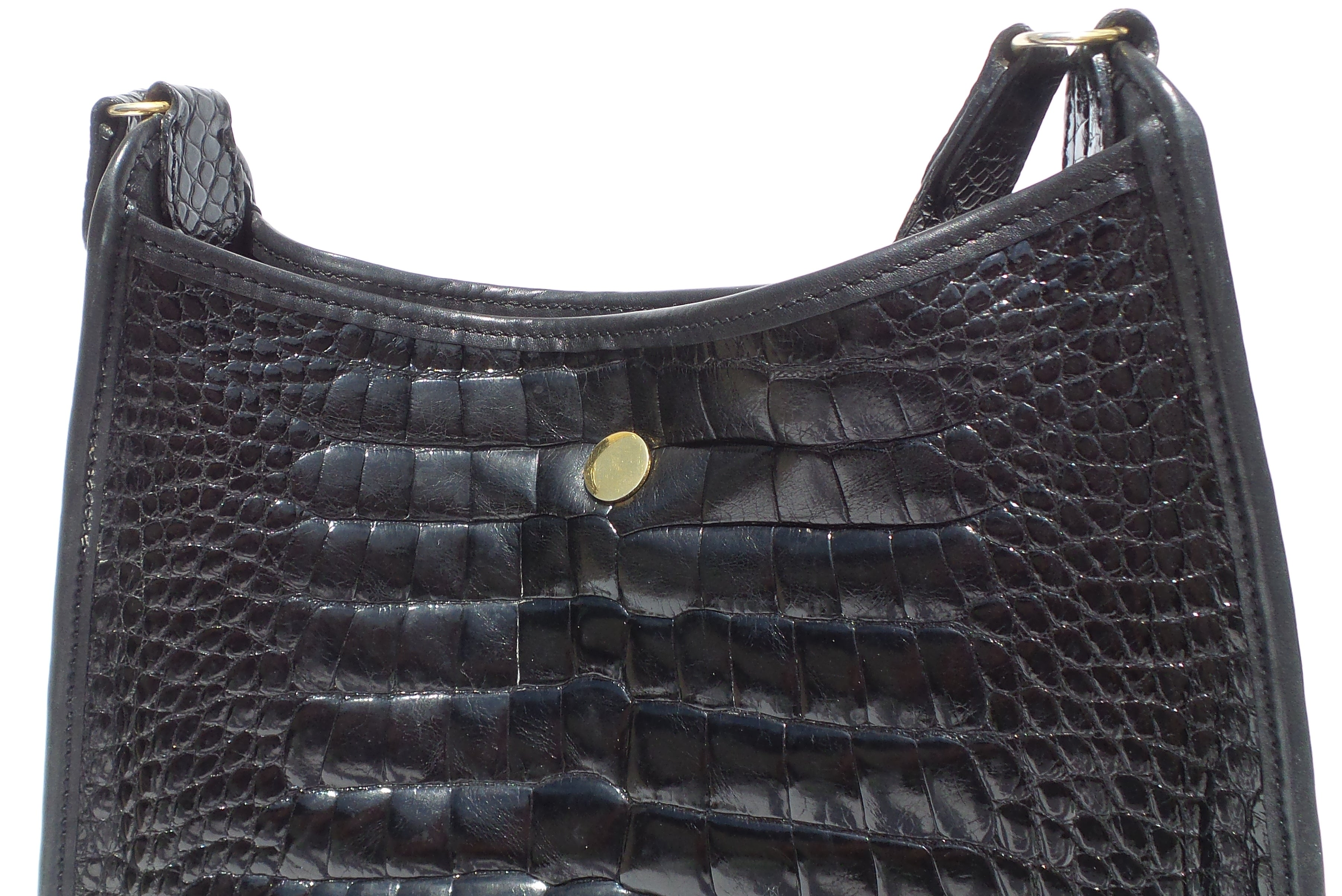 LORRAINE Italy Black Glossy Crocodile Alligator Leather Gold HW Shoulder Bag VTG