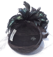 SAKS FIFTH AVENUE Vintage Black Lancaster Wool Coque Feather Plume Accented Hat