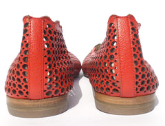 CHLOE Lauren Red Perforated Laser Cut Leather Scalloped Ballet Flats 39.5 EUC