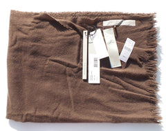 'Sold' RICK OWENS Sisyphus '18 Ideal Cashmere Stole Raisin Brown Fringe Trim Scarf $680