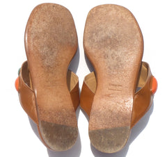 'Sold' HERMES Cognac Tan Leather Coral Turquoise Embellished Thong Flat Sandals 38.5 GC