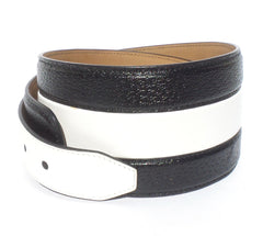 ALAIA Paris Black White Leather AC5031 Aged Brass Buckle Wide Belt Italy 75cm 30