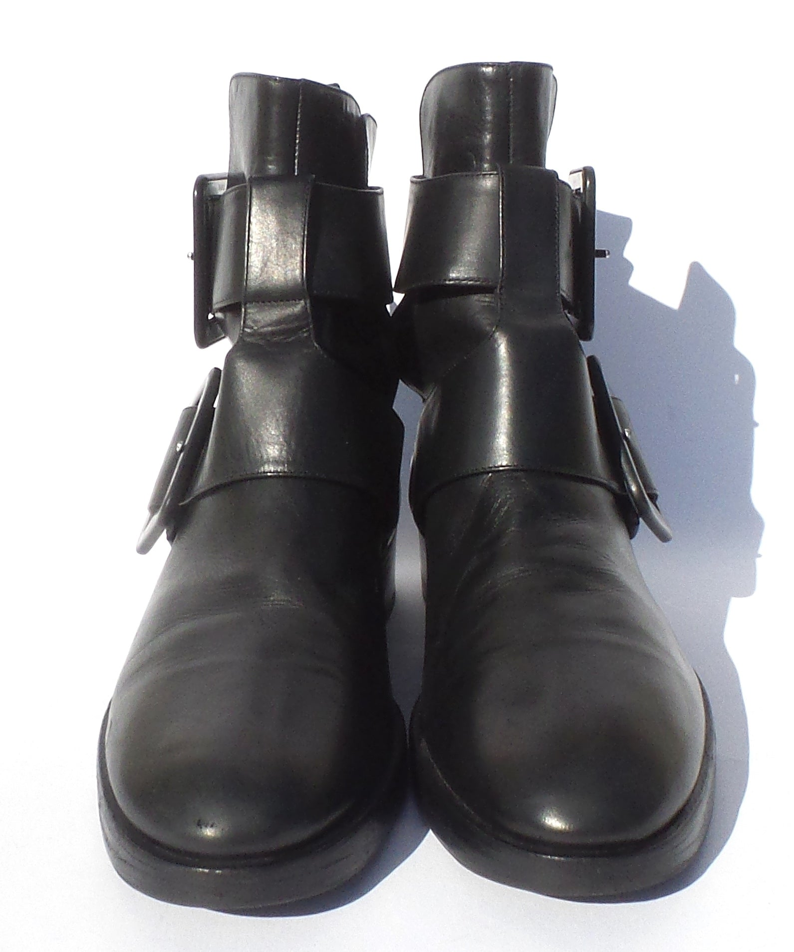 'Sold' PIERRE HARDY Black Leather Round Toe Double Buckle Low Heel Ankle Boots IT 38.5