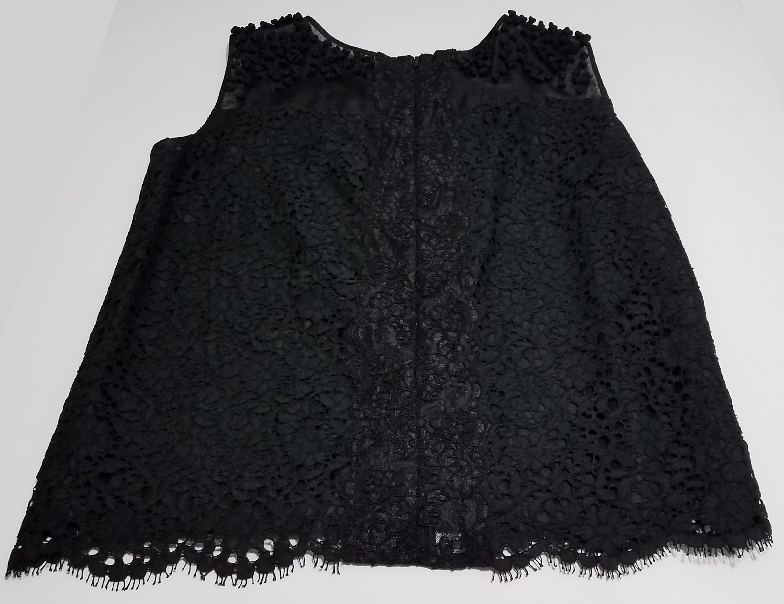ERDEM Black Floral Lace Sleeveless Scalloped Hem Cotton Silk Blouse Top UK10 6