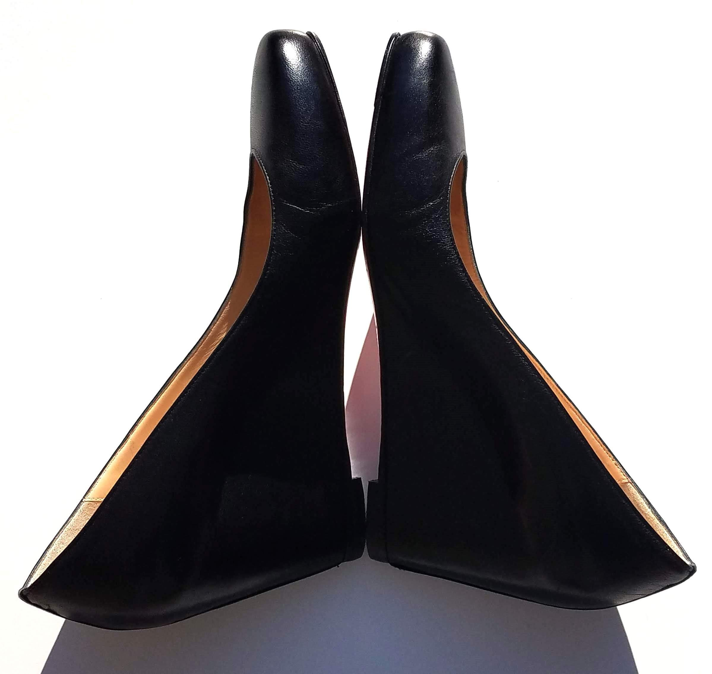 'Sold' CHRISTIAN LOUBOUTIN Melisa 70 Black Leather Covered Wedge Heels Pumps 39.5 $775