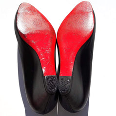 CHRISTIAN LOUBOUTIN Melisa 70 Black Leather Covered Wedge Heels Pumps 39.5 $775