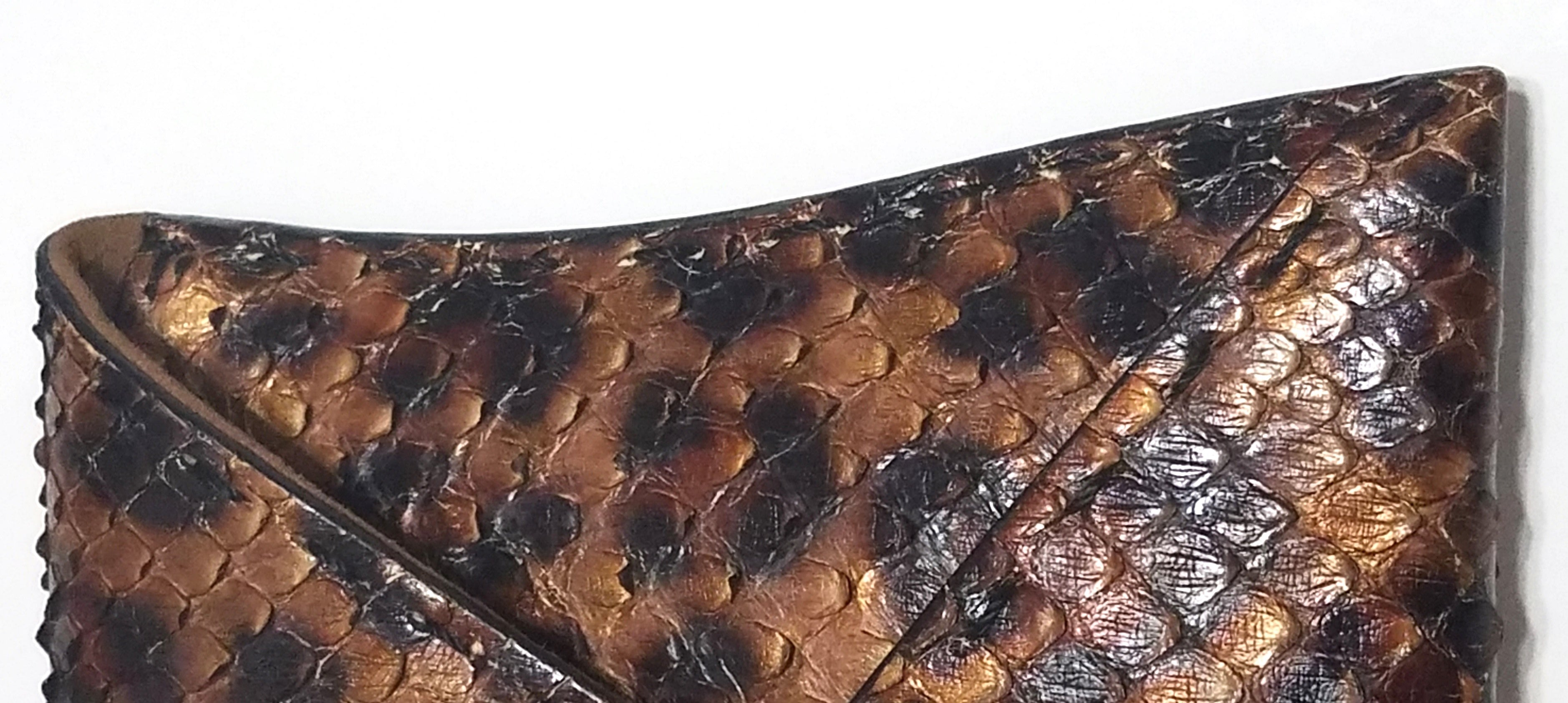 VBH Bronze Copper Gold Leopard Print Python Snakeskin Manila Envelope Clutch Ltd