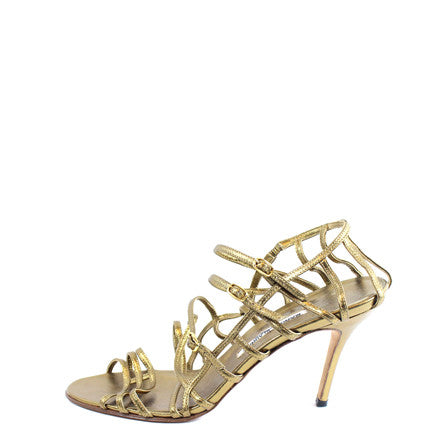 Manolo Blahnik Gold Strappy Heels (Size 42) - Encore Consignment - 1