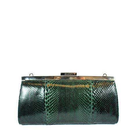 Gucci Snakeskin Green Clutch - Encore Consignment - 1