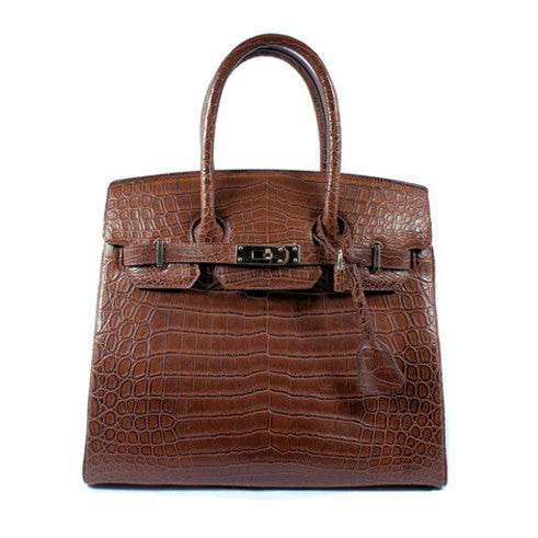 Kwanpen Brown Crocodile Skin Handbag - Encore Consignment - 9