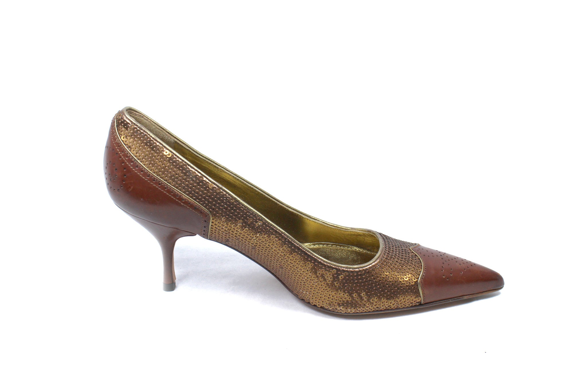 Prada Deep Brown and Sequin Pumps (Size 36) - Encore Consignment - 3