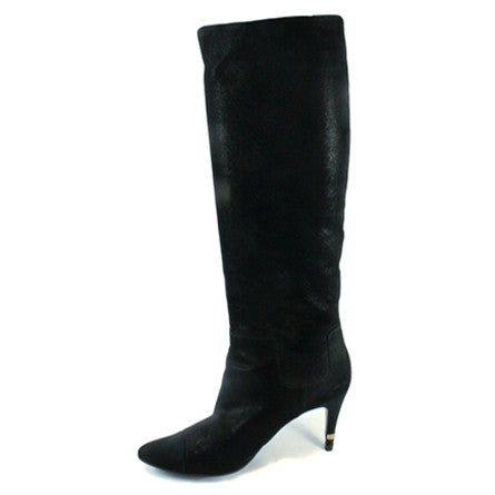 Chanel Matte Metallic Suede Knee High Boots (Size 38) - Encore Consignment - 1