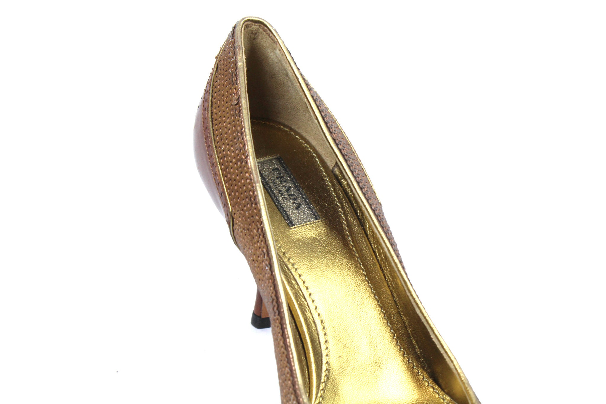 Prada Deep Brown and Sequin Pumps (Size 36) - Encore Consignment - 4