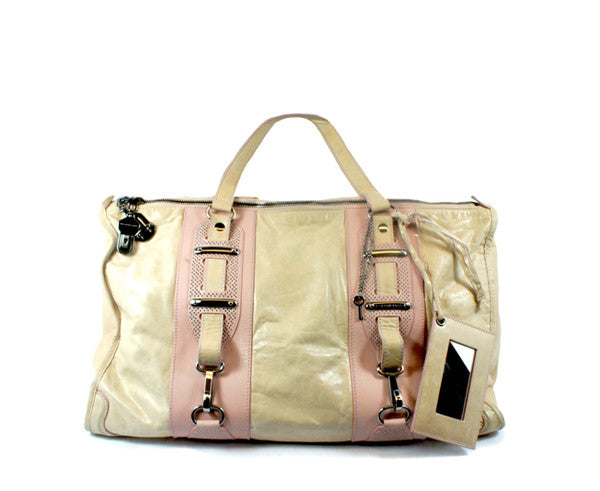 """PU""Balenciaga Cream and Pink Leather Tote - Encore Consignment - 1"