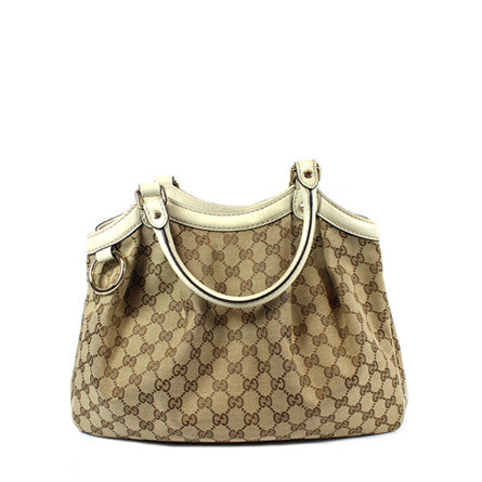 'SOLD' Gucci 'Sukey' GG Canvas and Ivory Leather Tote - Encore Consignment - 1