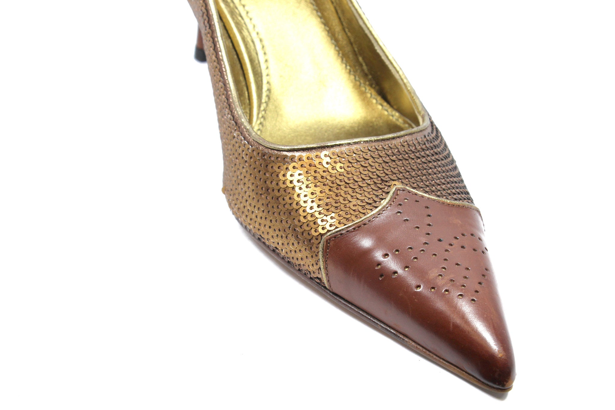 Prada Deep Brown and Sequin Pumps (Size 36) - Encore Consignment - 5