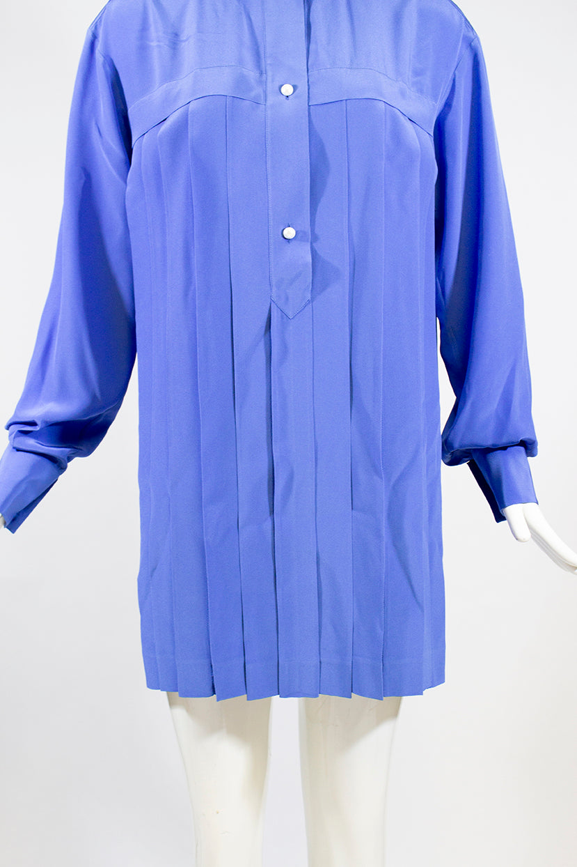 CHANEL 13P Cerulean Blue Pearl Button Long Sleeve Pleated Tunic Shirt Dress 36