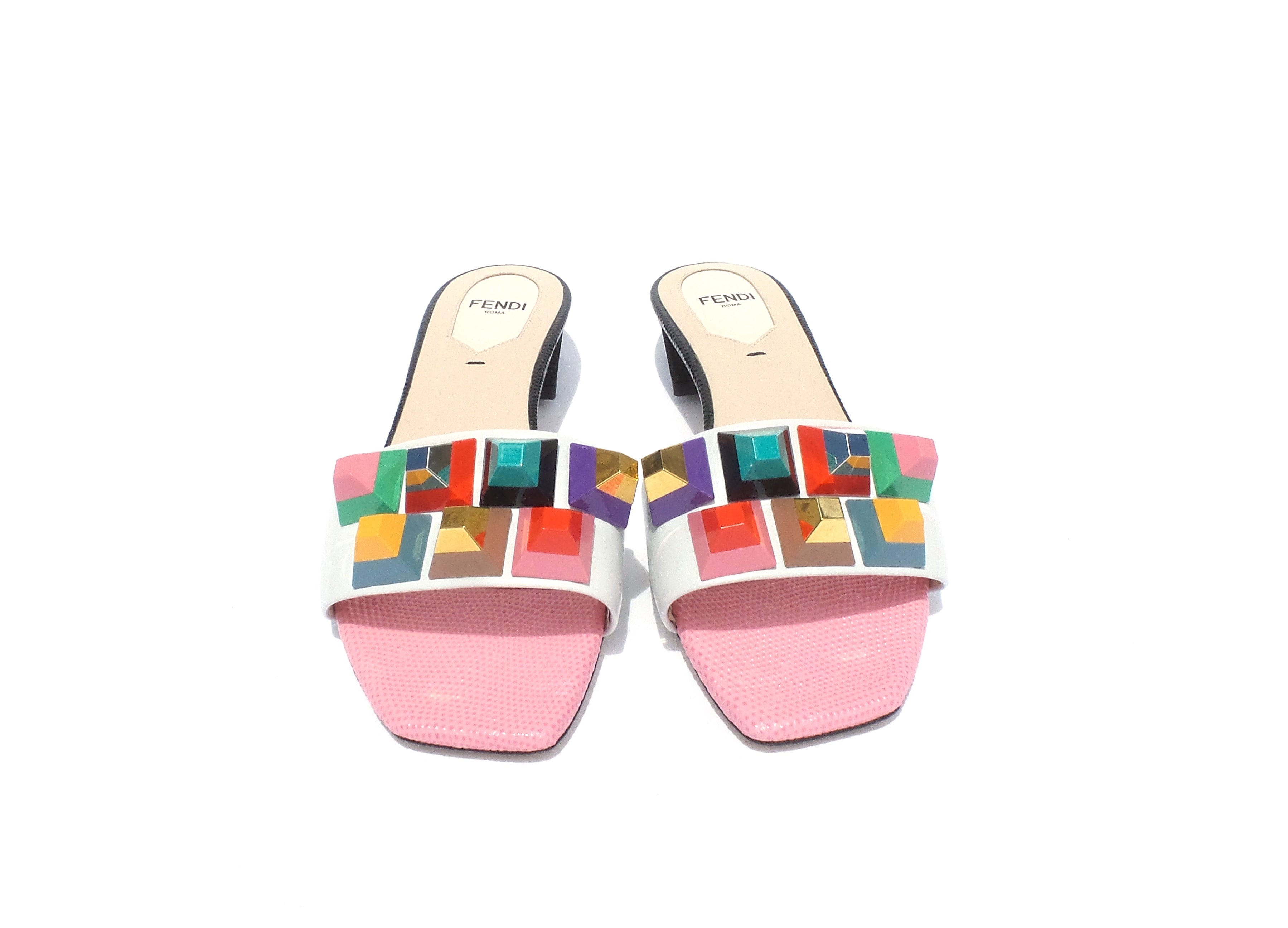 FENDI SS16 White Leather Multi Lollipop Pyramid Studded Slide Sandals 36.5 $700