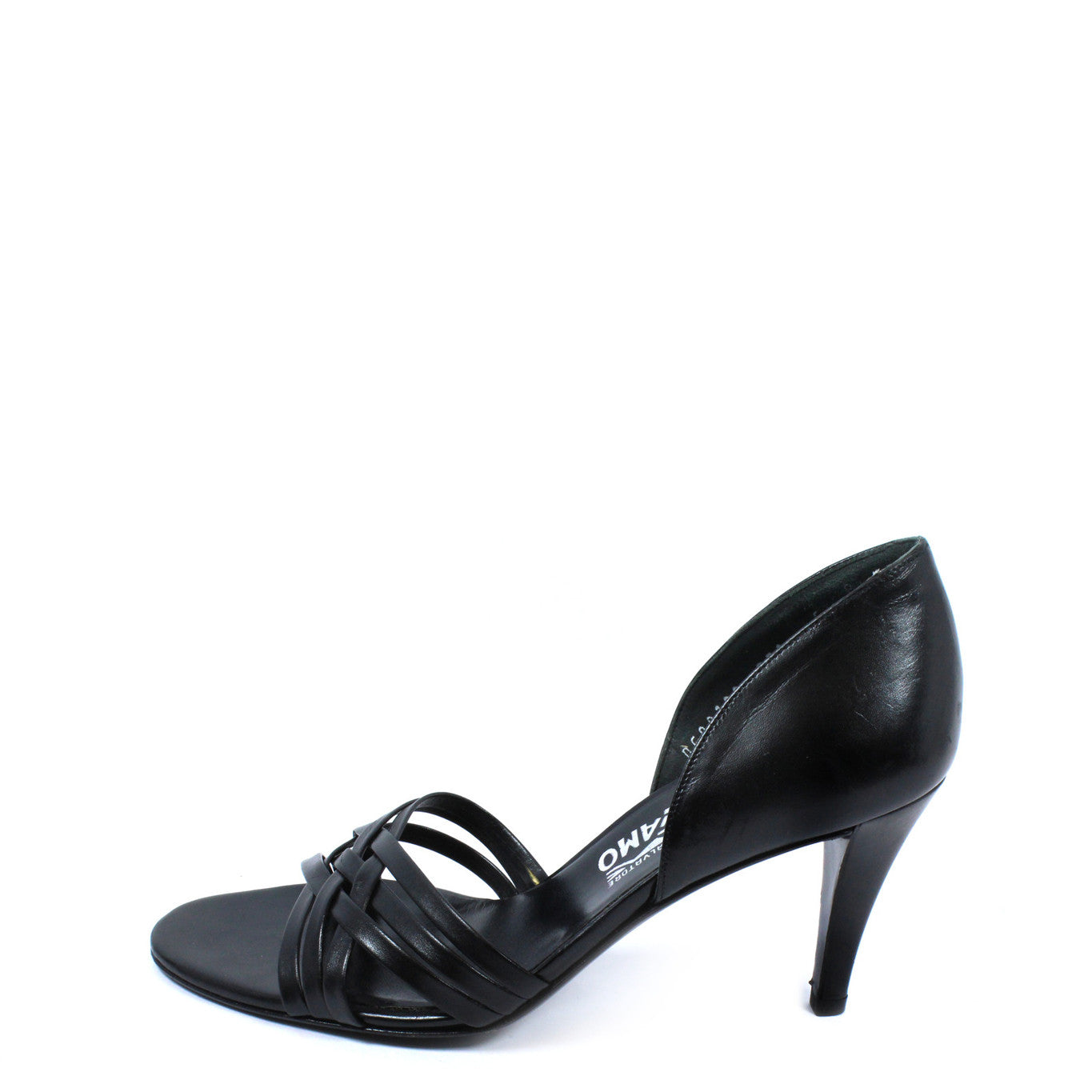 Salvatore Ferragamo Black Strappy Leather Heels (Size 6) - Encore Consignment - 10