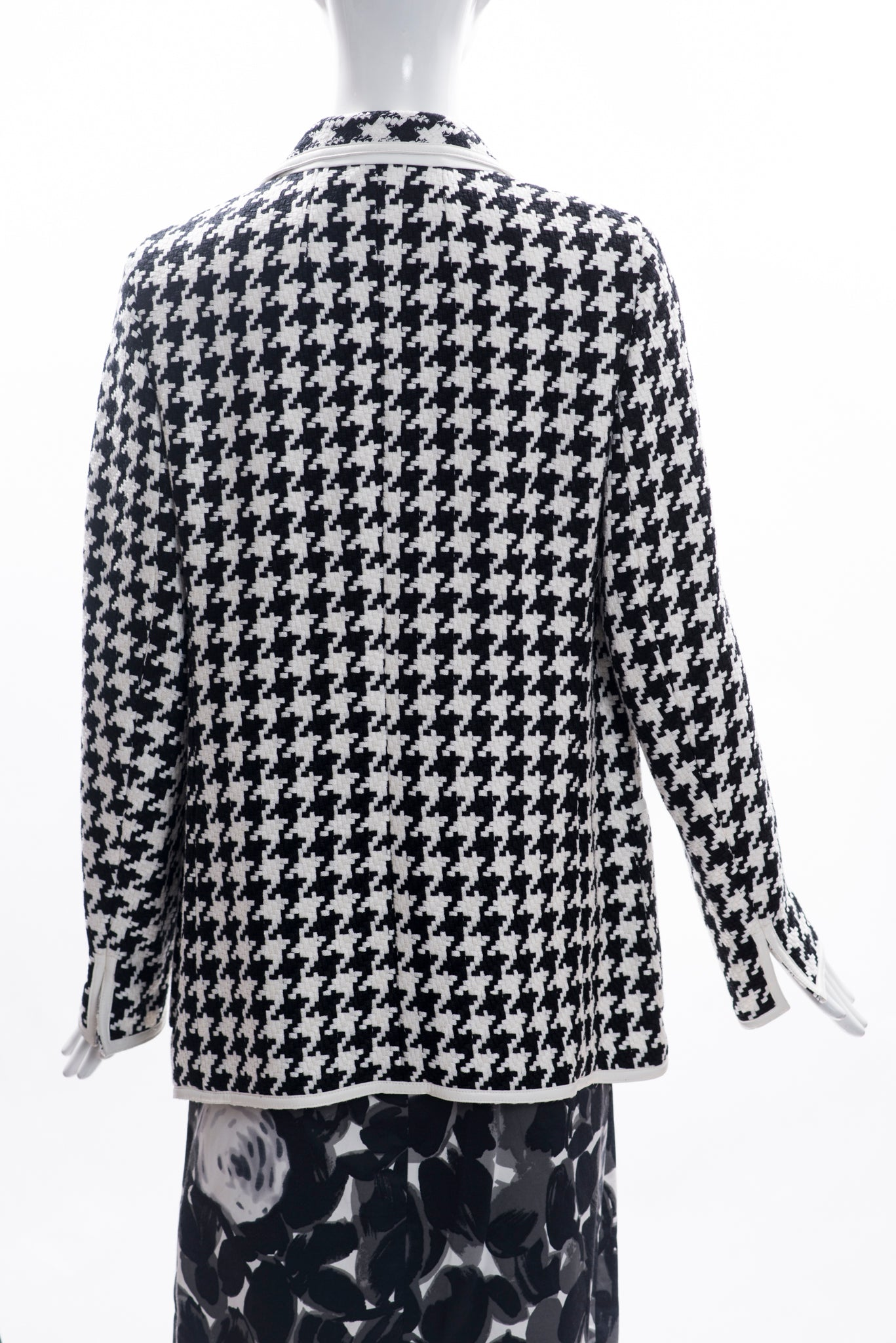AKRIS Black White Houndstooth Linen Faux Leather Trim Blazer Jacket F44 12 $3990