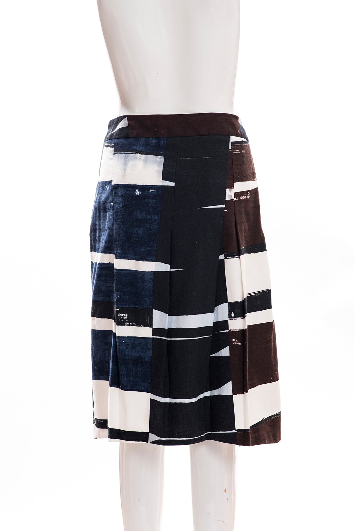 AKRIS Punto Black White Brown Blue Abstract Print Cotton Pleat Skirt FR 44 12 FC