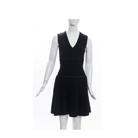 ALAÏA Black Brown Sleeveless V Neck Fit and Flare Fleece Wool Blend Dress 38