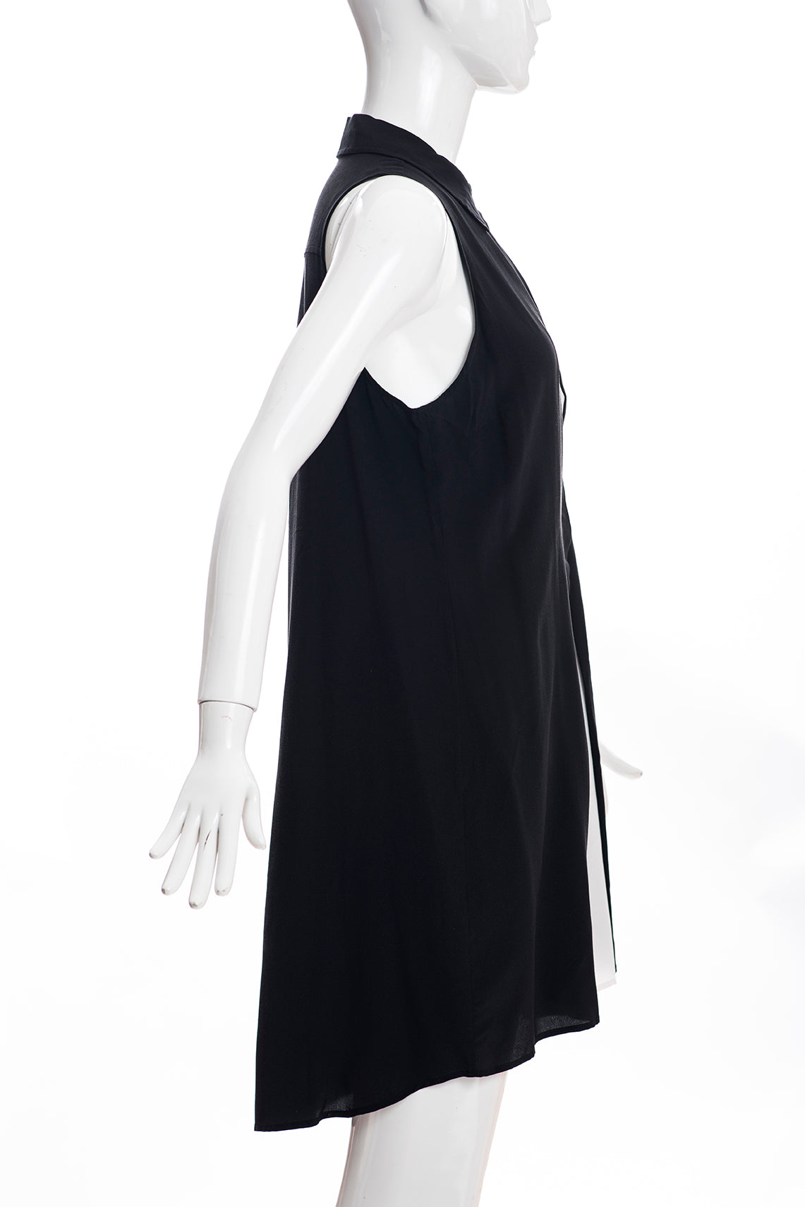 ALEXANDER WANG Black White Contrast Panel Silk Crepe Sleeveless Shift Dress 4 GC