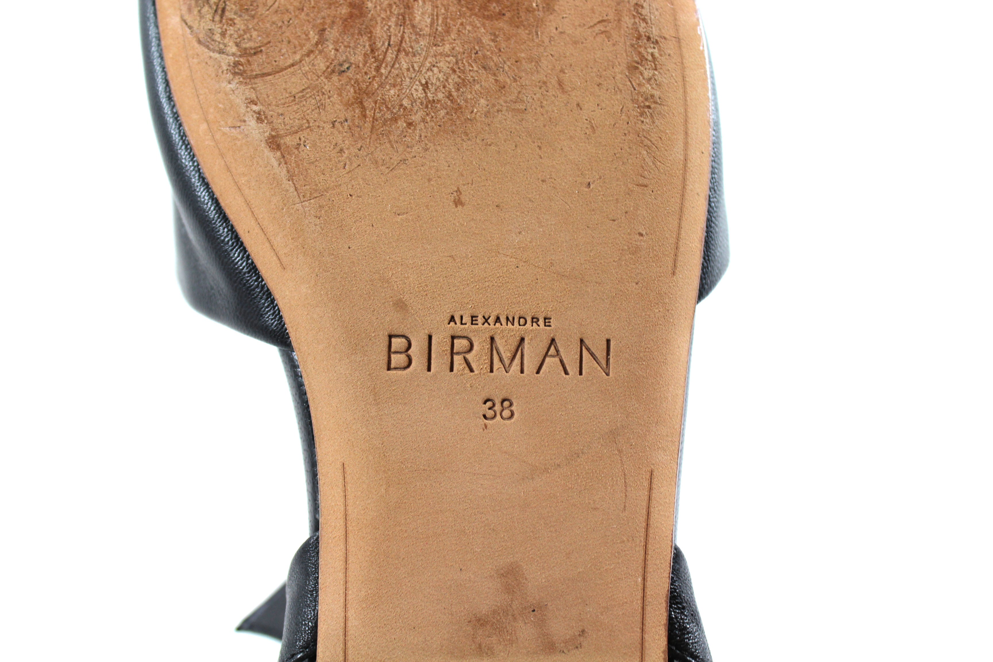 Alexandre Birman Black Leather Tie Mules (Size 38)