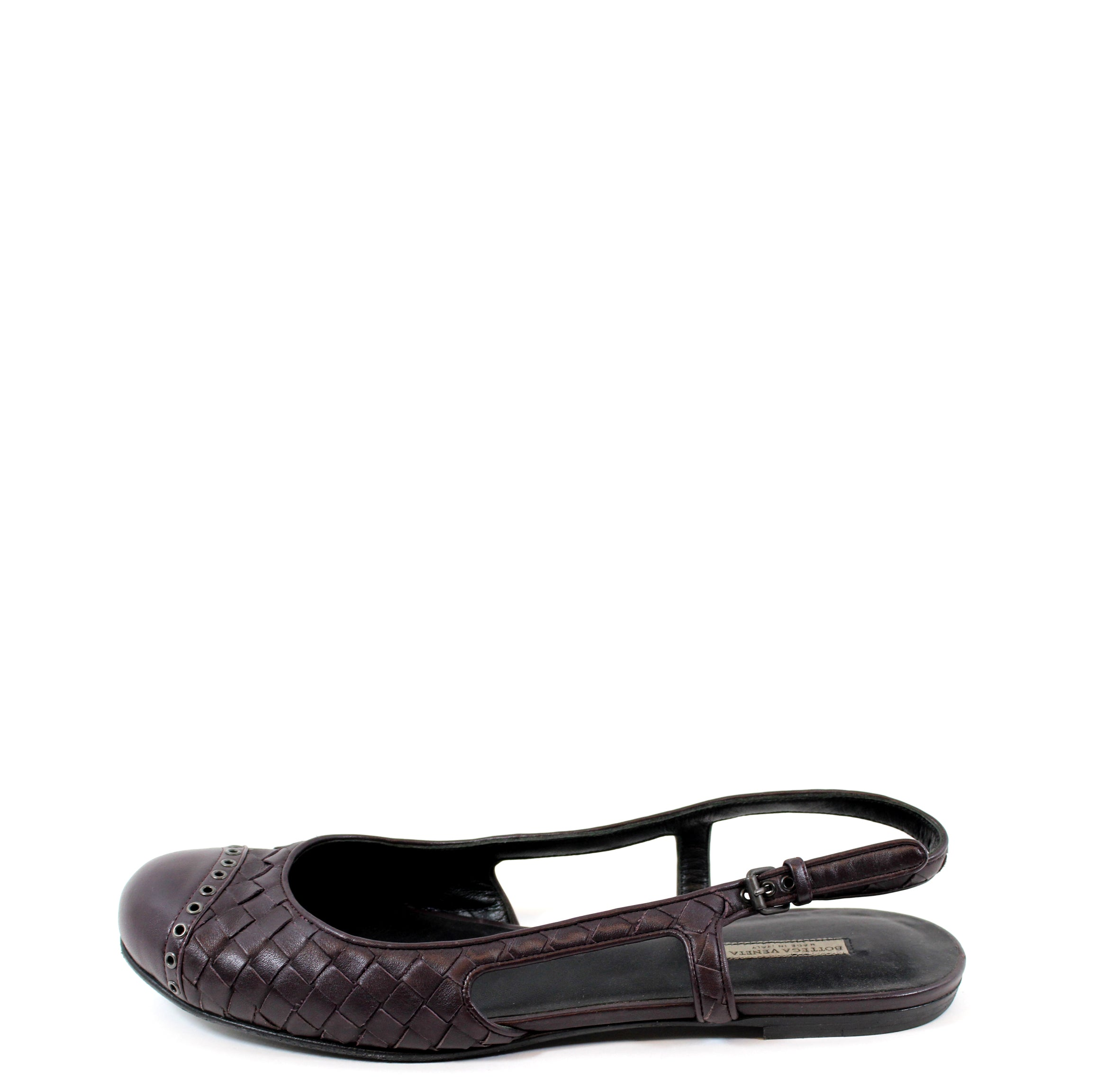 Bottega Veneta Eggplant Leather Woven Flats (Size 39.5)