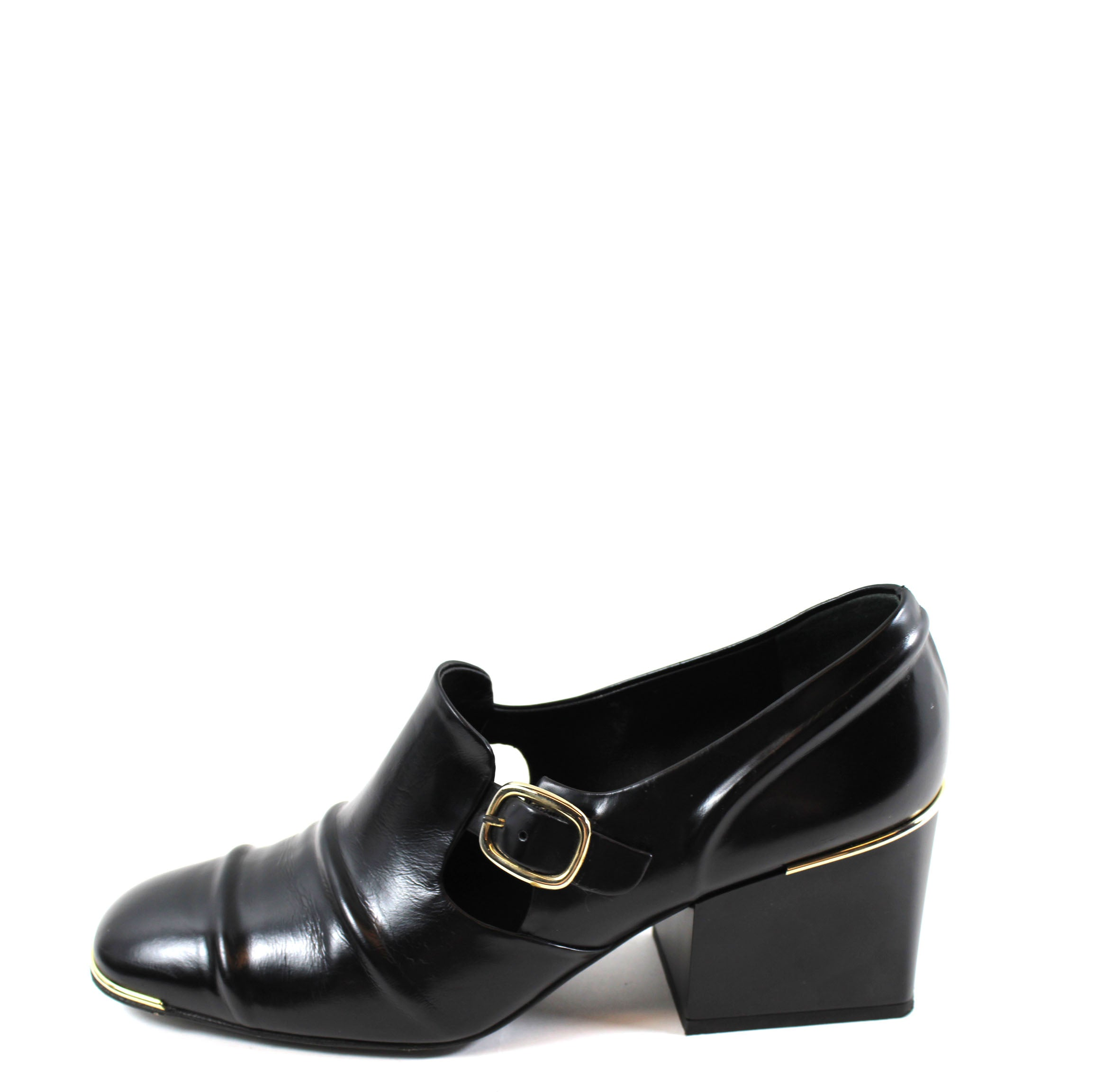 396146e12a08 Balenciaga  Cube  Black Leather Block Heel Loafers (Size 39) – Encore  Consignment