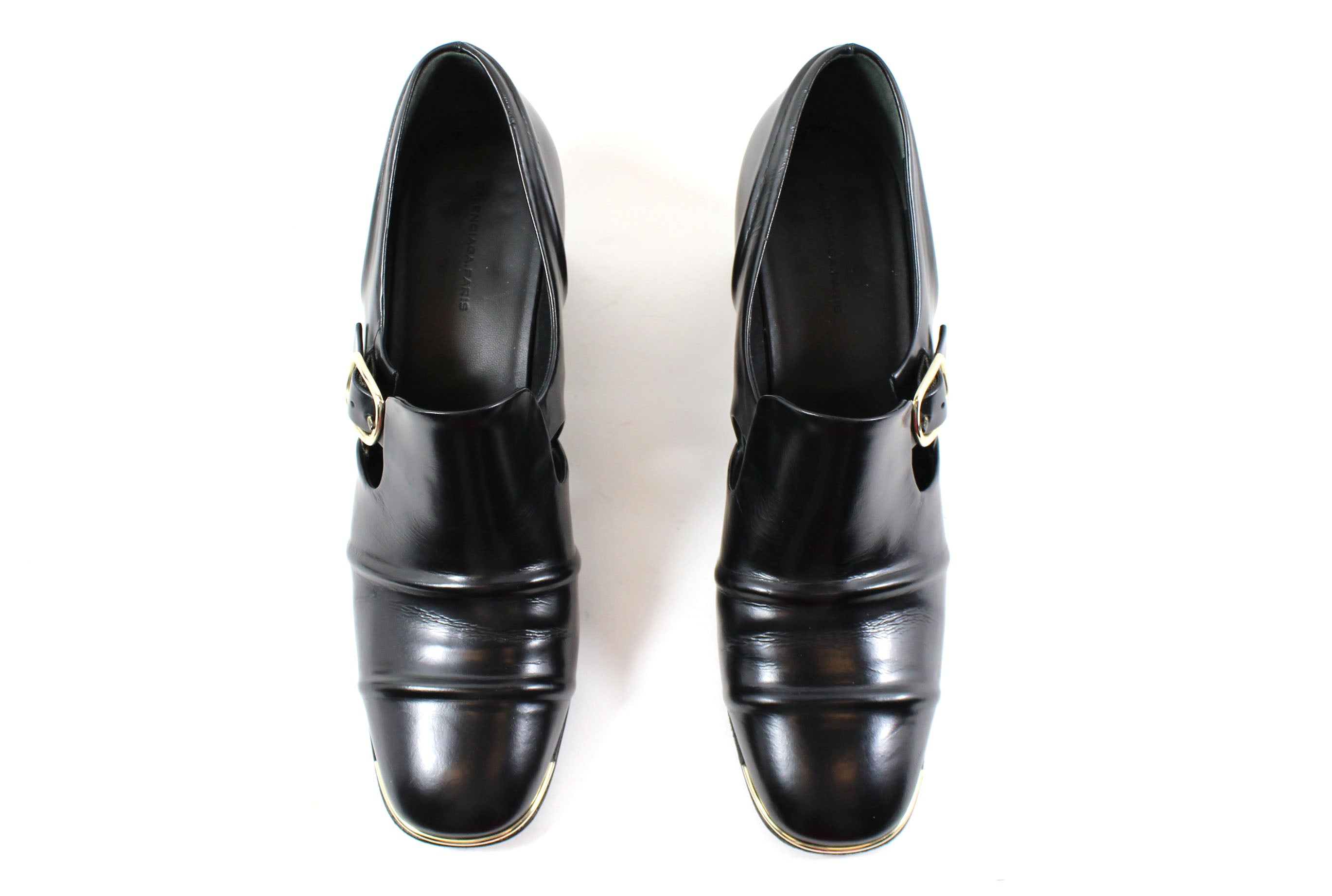 5f443d47753b Balenciaga  Cube  Black Leather Block Heel Loafers (Size 39 ...