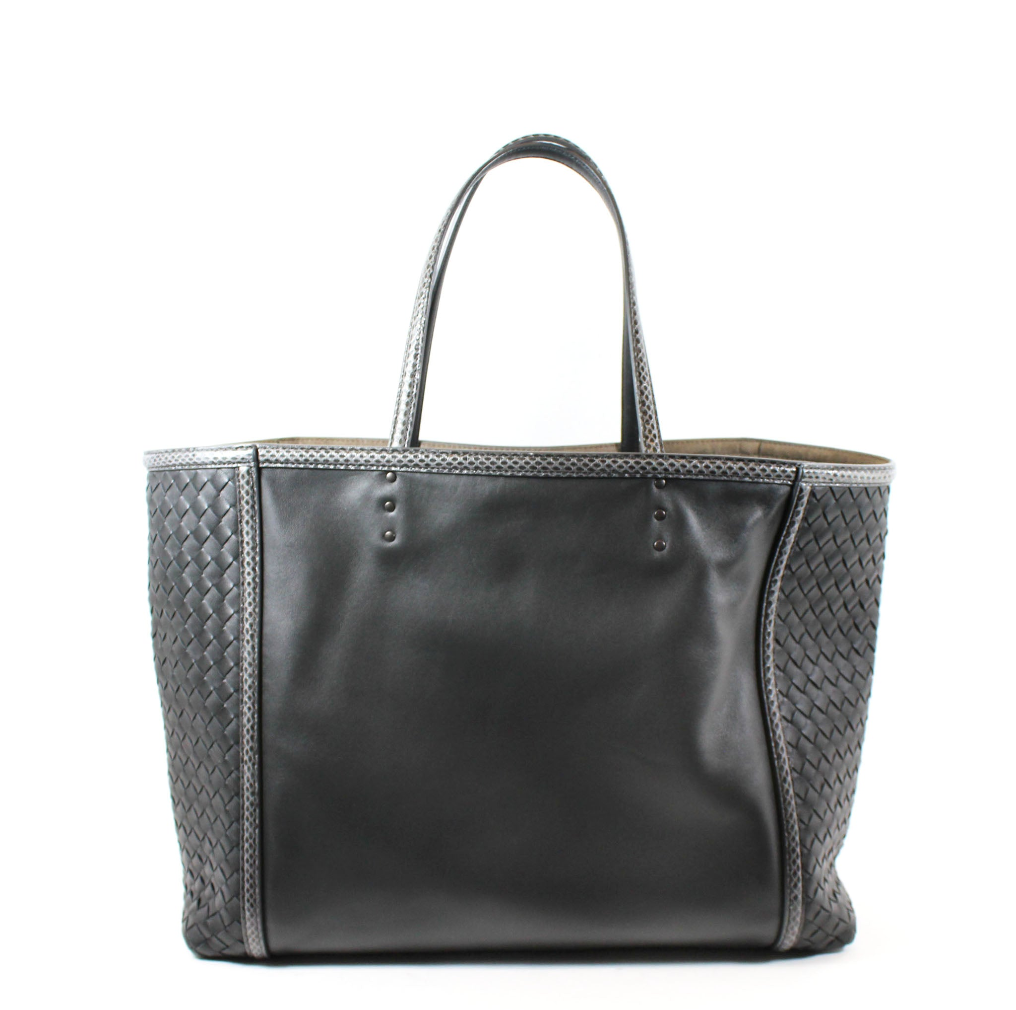 Bottega Veneta Medium Charcoal Leather Snakeskin Tote – Encore ... 31237f8de4