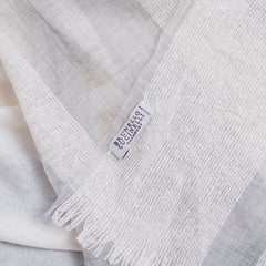 'Sold' BRUNELLO CUCINELLI Ivory Silver Knit Gray Striped Cashmere Fringe Scarf EC