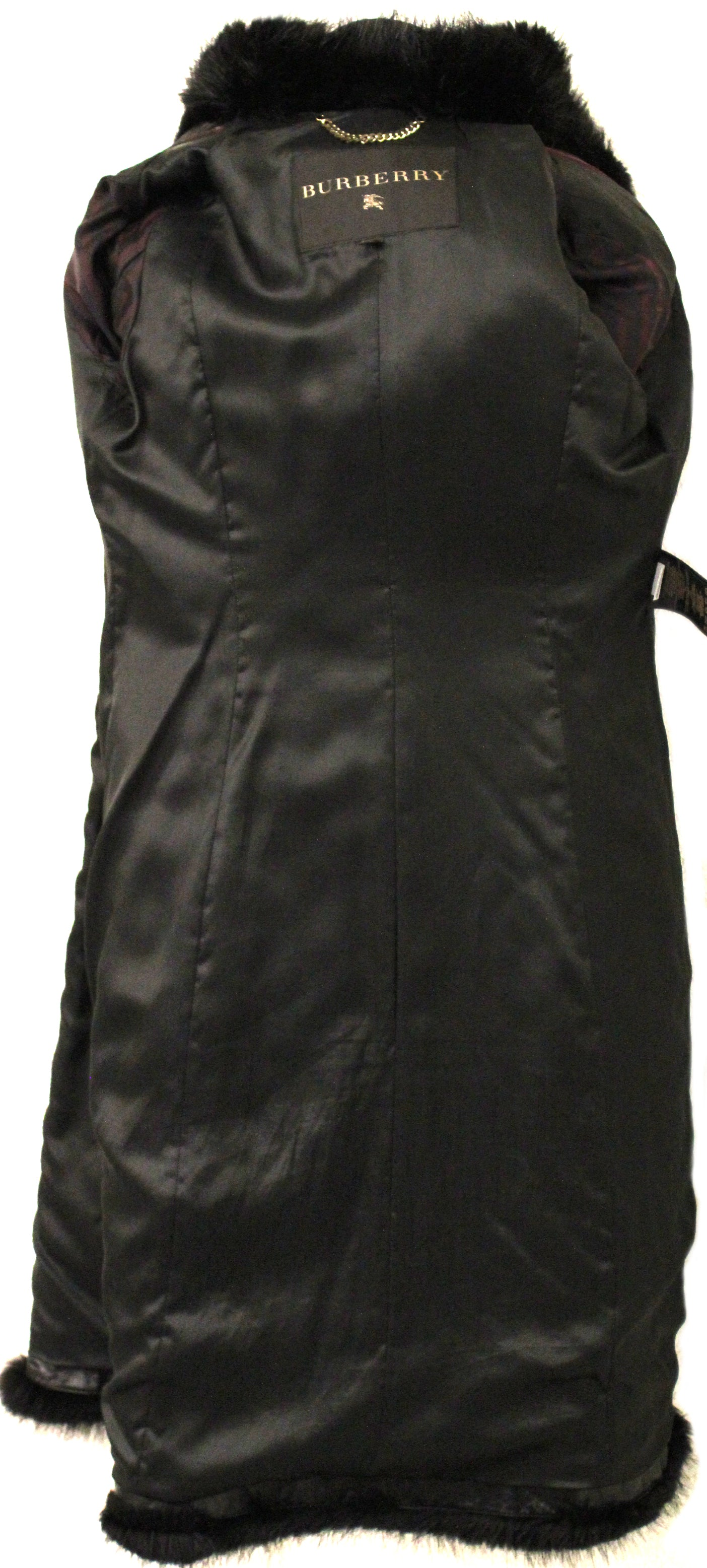 677de96f612 Burberry Black Quilted Leather Trench Coat with Fur Trim (Size 40 ...