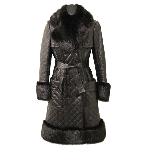 Burberry Black Quilted Leather Trench Coat with Fur Trim (Size 40)