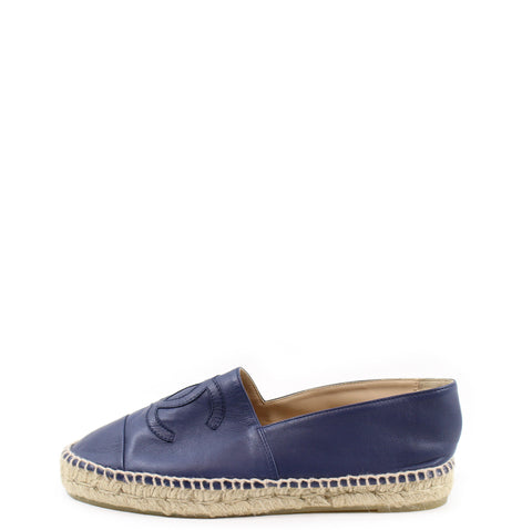 Chanel Navy Lamb Leather Espadrilles (Size 38)