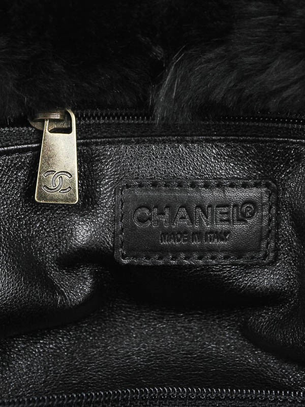 Chanel Black Rabbit Fur Bag - Encore Consignment - 9