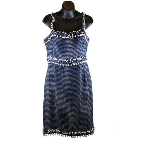 Chanel Navy Tweed Pearl Embellished Sleeveless Dress (Size 44)