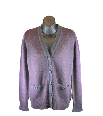 Chanel Plum Cashmere Button-Up Cardigan (Size 38)