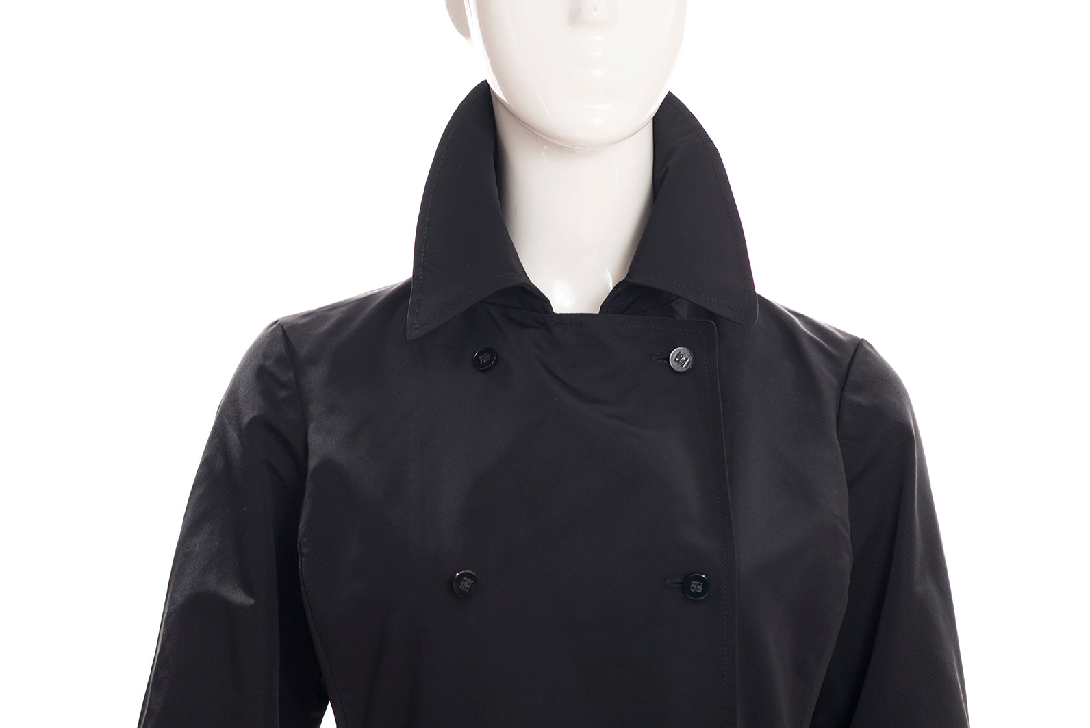 f93832888cb97 CH CAROLINA HERRERA Black Double Breasted Twill Belted Trench Coat Jacket XS