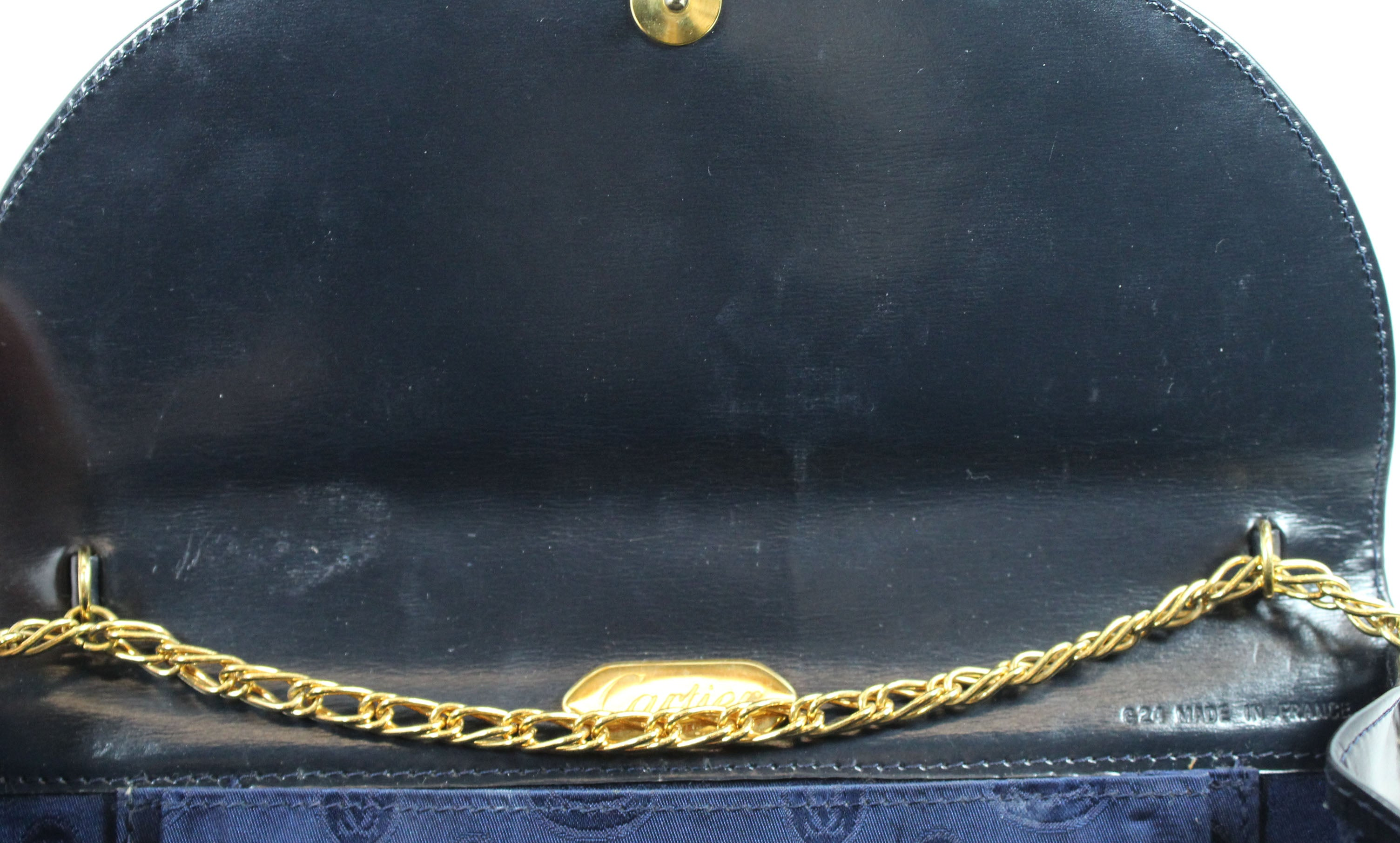 Cartier Vintage Navy Leather Deco Evening Bag