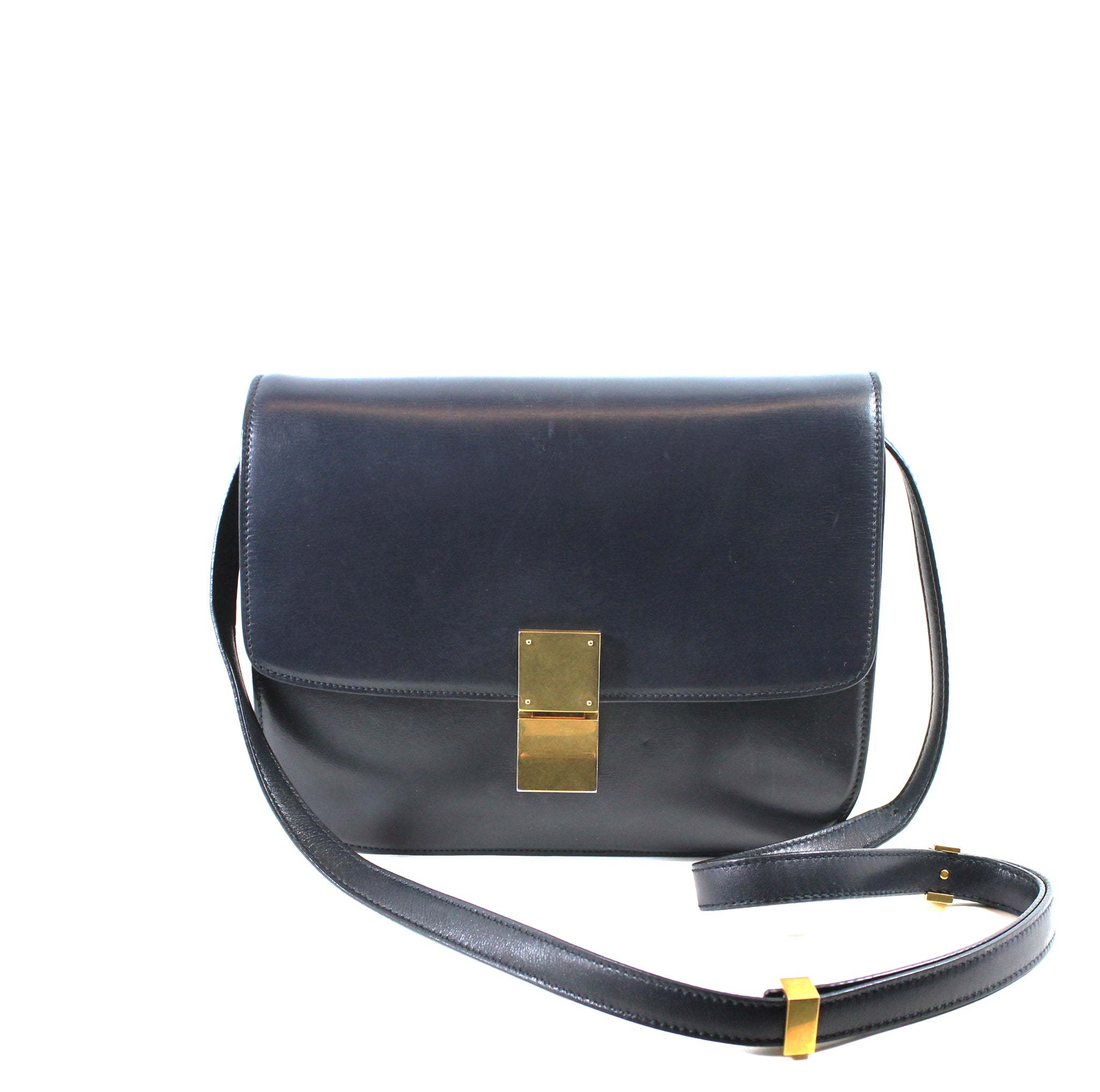2f19c90cc346 Céline Medium Navy Classic Box Calfskin Bag – Encore Consignment