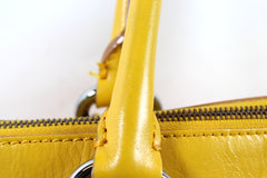 Céline Yellow Patent Leather Medium Satchel