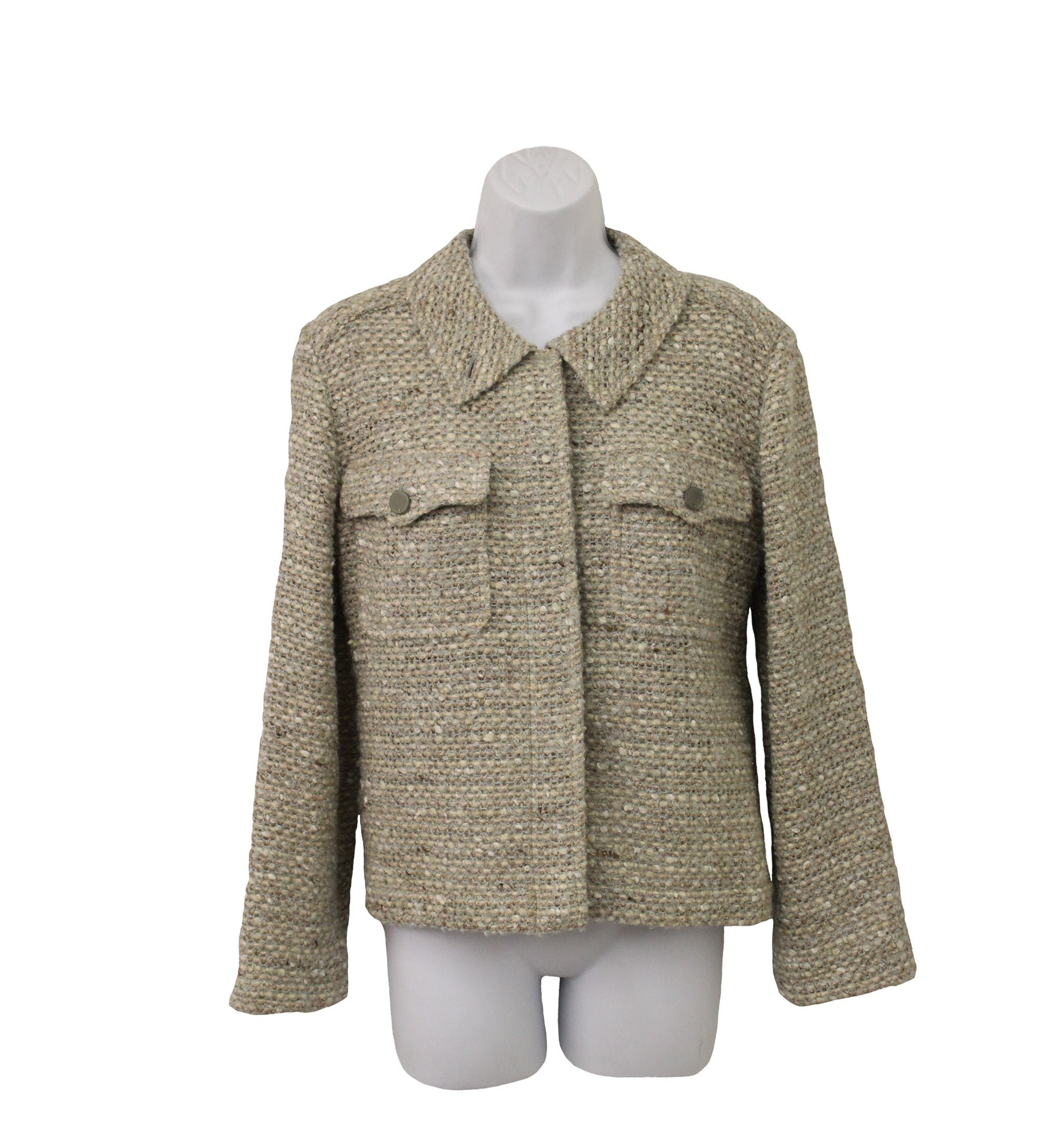 c523d923205  Sold  Chanel Beige Green Tweed Jacket (Size 36) – Encore Consignment